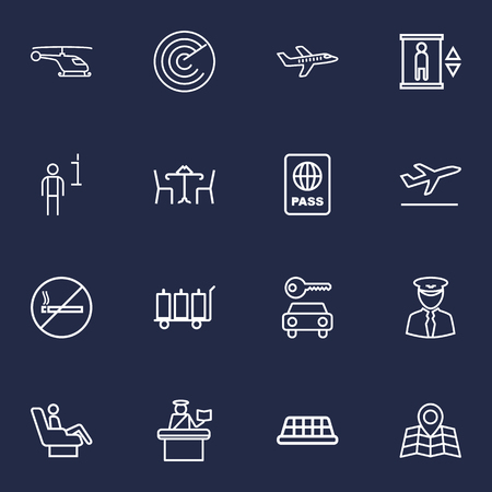packet driver: Set Of 16 Land Outline Icons Set.Collection Of Taxi, Luggage Trolley, Certification And Other Elements.