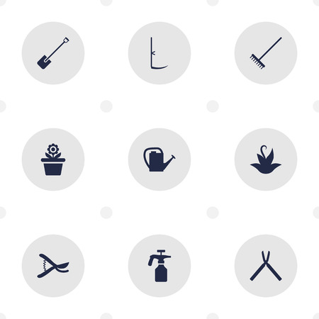 dangerous work: Set Of 9 Farm Icons Set.Collection Of Plant, Rake, Pruner And Other Elements. Illustration