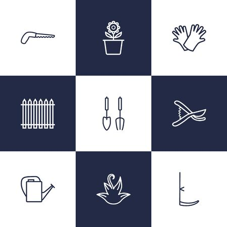 safer: Set Of 9 Horticulture Outline Icons Set.Collection Of Palisade, Safer Of Hand , Scythe Elements.