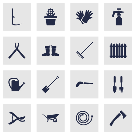 grass blades: Set Of 16 Household Icons Set.Collection Of Hacksaw, Fence, Pruner And Other Elements.