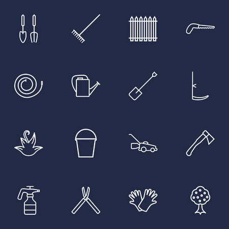 clippers: Set Of 16 Horticulture Outline Icons Set.Collection Of Atomizer, Harrow, Garden And Other Elements.