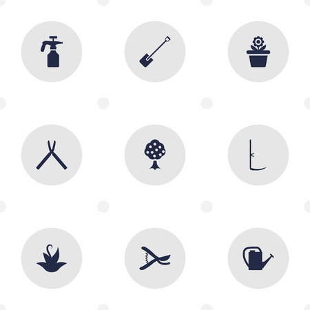 scissors: Set Of 9 Farm Icons Set.Collection Of Scissors, Flowerpot, Plant And Other Elements.