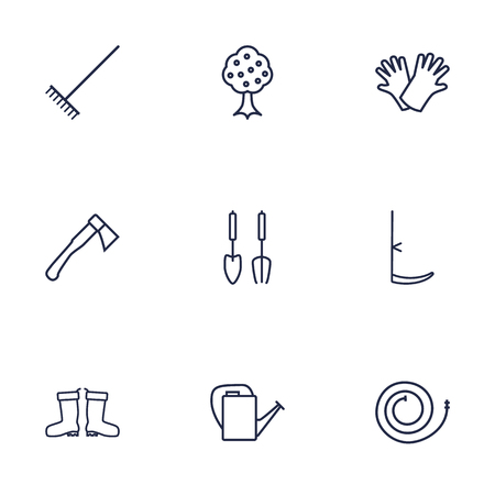 safer: Set Of 9 Farm Outline Icons Set.Collection Of Instruments, Hatchet, Safer Of Hand Elements.