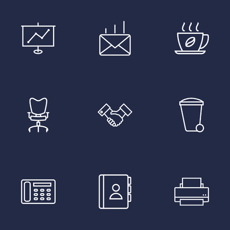 stool: Set Of 9 Work Outline Icons Set.Collection Of Contacts, Hot Drink, Telephone Directory And Other Elements.