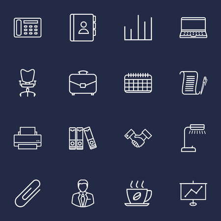 illuminator: Set Of 16 Bureau Outline Icons Set.Collection Of Partnership, Fastener Paper, Notebook And Other Elements.