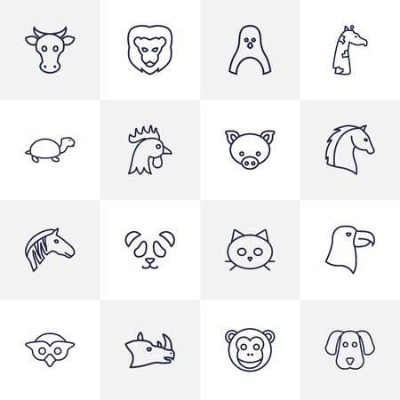cute dog: Set Of 16 Brute Outline Icons Set.Collection Of Eagle, Giraffe, Cat And Other Elements.