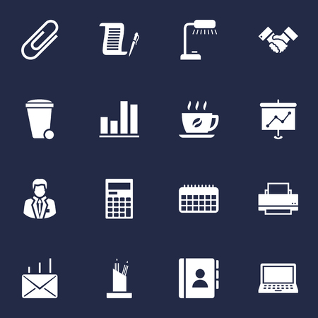 Set Of 16 Bureau Icons Set.Collection Of Calculator, Mail, Diagram And Other Elements. Illustration