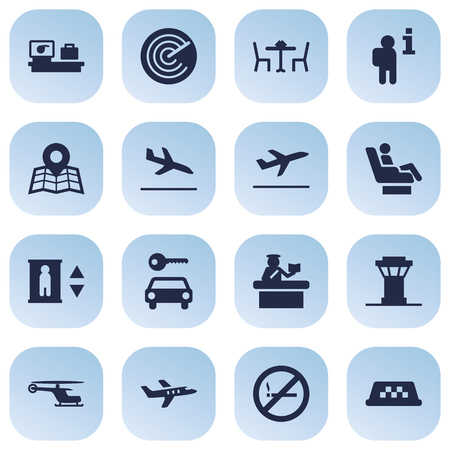 pareja comiendo: Set Of 16 Airplane Icons Set.Collection Of Aircraft, Letdown, Forbidden And Other Elements.