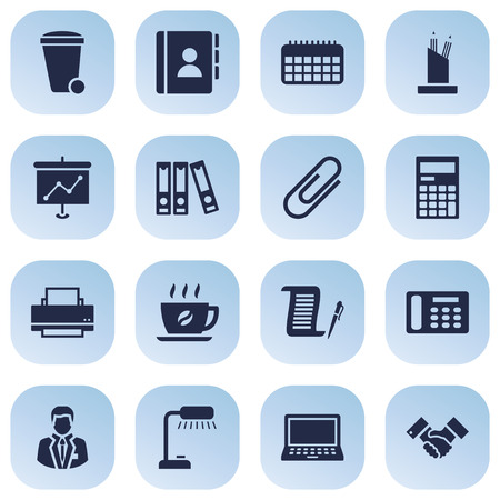 steel sheet: Set Of 16 Service Icons Set.Collection Of Telephone, Laptop, Contract And Other Elements. Illustration