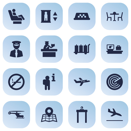 Set Of 16 Aircraft Icons Set.Collection Of Resolver, Rectifier, Vip And Other Elements.