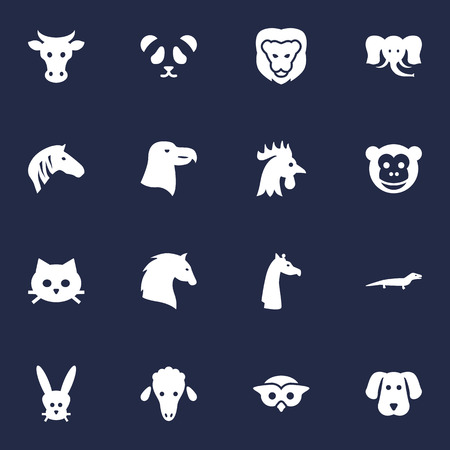 Set Of 16 Beast Icons Set.Collection Of Kine, King, Rooster And Other Elements. Illustration