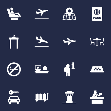 Set Of 16 Aircraft Icons Set.Collection Of Hire, Security, Tower And Other Elements.