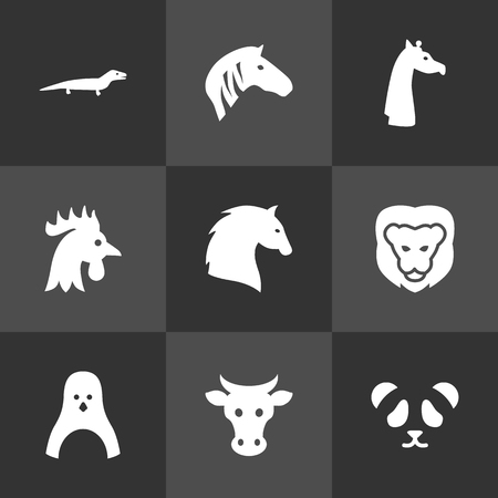 Set Of 9 Brute Icons Set.Collection Of Sea Bird, Rooster, Camelopard And Other Elements.  イラスト・ベクター素材