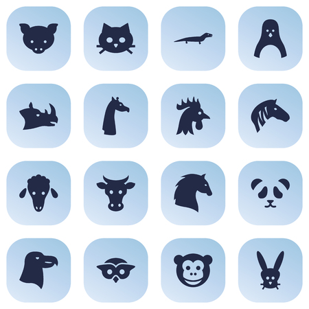 Set Of 16 Brute Icons Set.Collection Of Bird, Steed, Mutton And Other Elements.  イラスト・ベクター素材