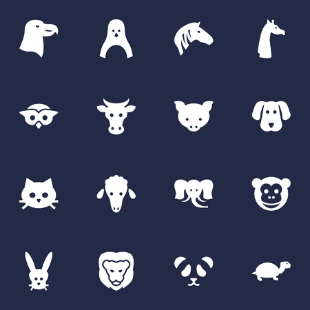 Set Of 16 Beast Icons Set.Collection Of Bird, Bear, Tortoise And Other Elements. Illustration