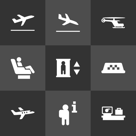 Set Of 9 Aircraft Icons Set.Collection Of Leaving, Transporter Car, Resolver And Other Elements.