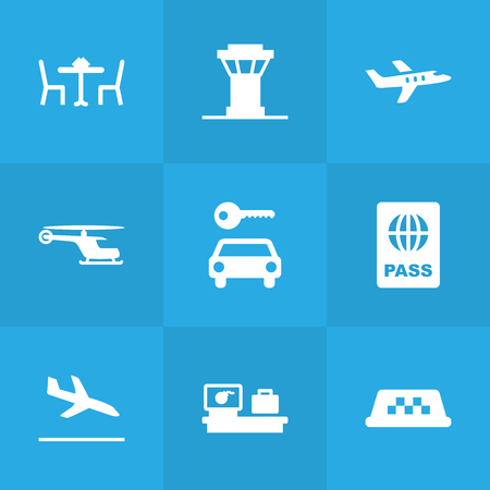 Set Of 9 Aircraft Icons Set.Collection Of Resolver, Letdown, Aircraft And Other Elements. Ilustração