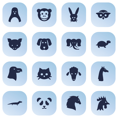 Set Of 16 Brute Icons Set.Collection Of Camelopard, Bunny, Owl And Other Elements.
