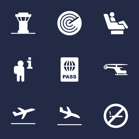 poison: Set Of 9 Aircraft Icons Set.Collection Of Radiolocator, Forbidden, Passport And Other Elements.