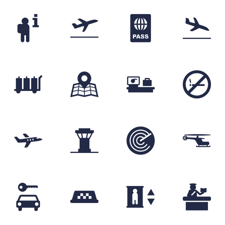 poison: Set Of 16 Airplane Icons Set.Collection Of Location, Passport, Resolver And Other Elements.