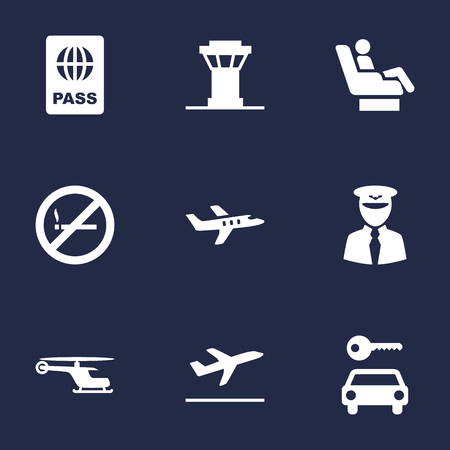 interdiction: Set Of 9 Land Icons Set.Collection Of Leaving, Aviator, Passport And Other Elements. Illustration