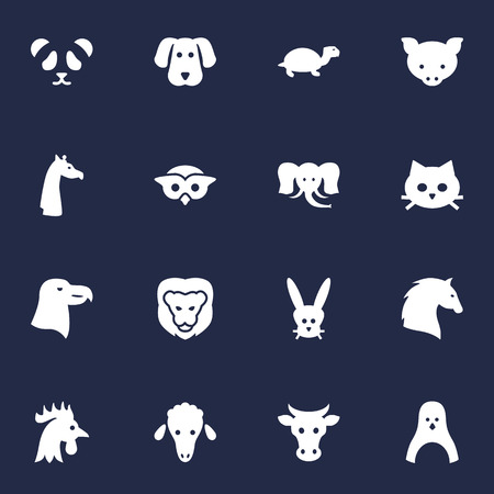 Set Of 16 Beast Icons Set.Collection Of Hog, Bear, Hound And Other Elements.