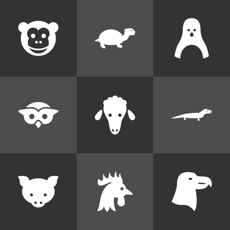 antarctic: Set Of 9 Brute Icons Set.Collection Of Hog, Mutton, Bird And Other Elements.