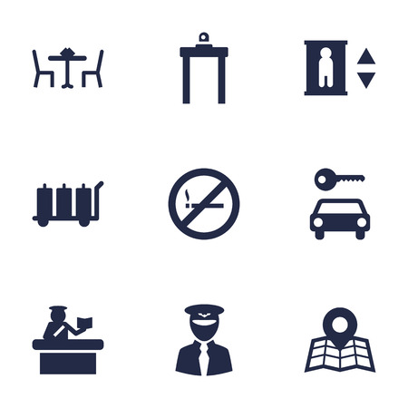 interdiction: Set Of 9 Airplane Icons Set.Collection Of Hire, Lift, Aviator And Other Elements.