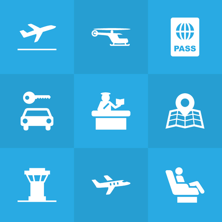 Set Of 9 Aircraft Icons Set.Collection Of Hire, Passport, Location And Other Elements.