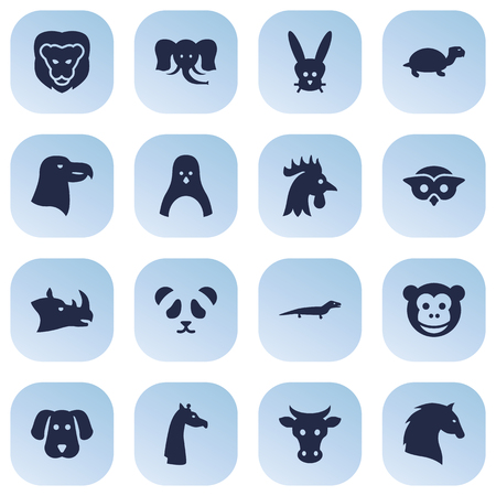 Set Of 16 Brute Icons Set.Collection Of Hound, Bird, King And Other Elements.
