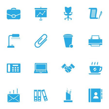 illuminator: Set Of 16 Bureau Icons Set.Collection Of Table Lighter, Address Book, Mail And Other Elements.