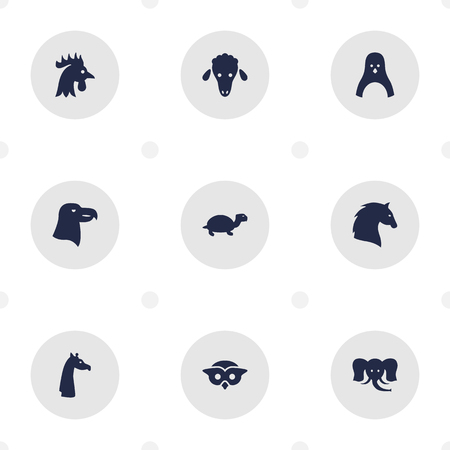 Set Of 9 Brute Icons Set.Collection Of Camelopard, Bishop, Sea Bird And Other Elements.