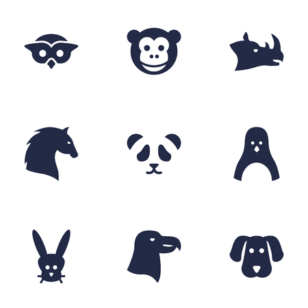 Set Of 9 Brute Icons Set.Collection Of Steed, Sea Bird, Bear And Other Elements. Illustration
