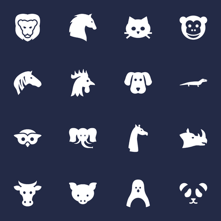 Set Of 16 Brute Icons Set.Collection Of Rhinoceros, Rooster, Owl And Other Elements.