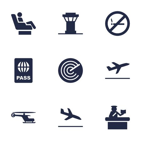emigration: Set Of 9 Aircraft Icons Set.Collection Of Forbidden, Security, Radiolocator And Other Elements. Illustration