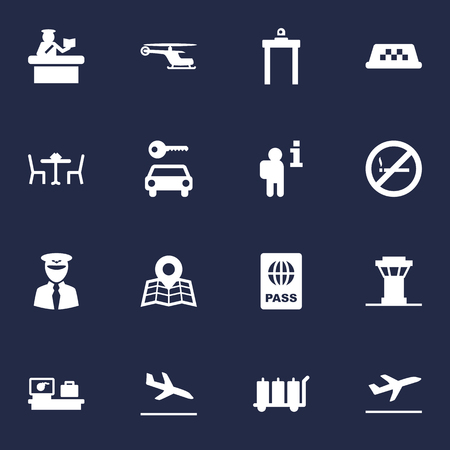 emigration: Set Of 16 Aircraft Icons Set.Collection Of Passport, Security, Letdown And Other Elements.