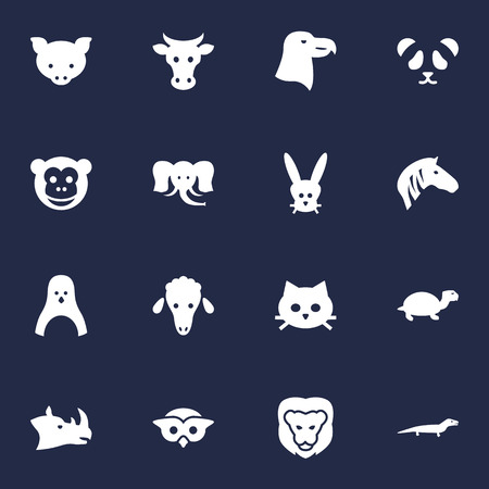 Set Of 16 Beast Icons Set.Collection Of Mutton, Rhinoceros, Hoss And Other Elements.
