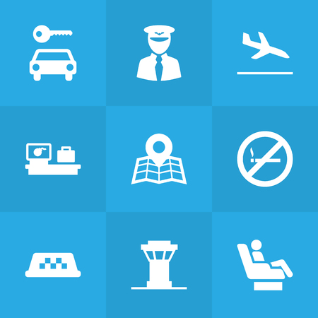 Set Of 9 Land Icons Set.Collection Of Resolver, Location, Aviator And Other Elements.