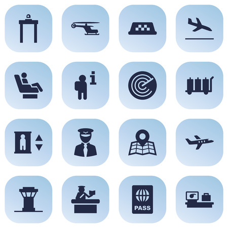 emigration: Set Of 16 Airplane Icons Set.Collection Of Aviator, Tower, Resolver And Other Elements.