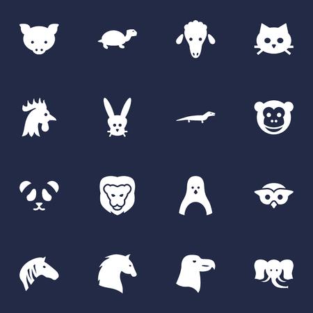 豚、ウサギ、サル、その他の要素の 16 獣アイコン Set.Collection のセットです。  イラスト・ベクター素材