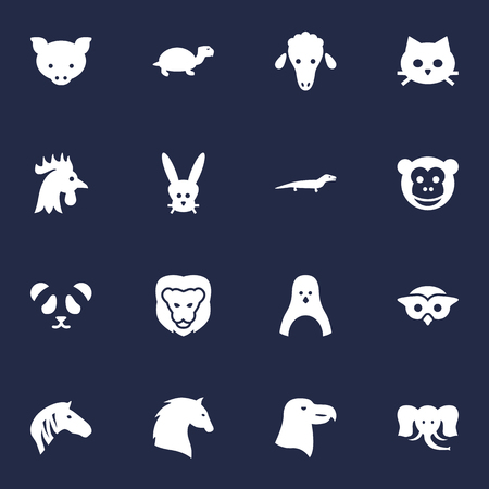 Set Of 16 Beast Icons Set.Collection Of Hog, Bunny, Ape And Other Elements. Illustration