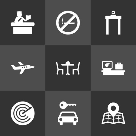 Set Of 9 Land Icons Set.Collection Of Restaurant, Resolver, Aircraft And Other Elements. Ilustração