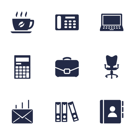 Set Of 9 Service Icons Set.Collection Of Telephone, File Folder, Address Book And Other Elements.