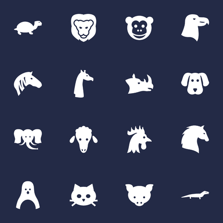 camelopard: Set Of 16 Alive Icons Set.Collection Of Rhinoceros, King, Bird And Other Elements.