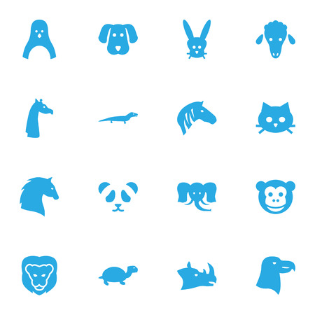 camelopard: Set Of 16 Alive Icons Set.Collection Of Mutton, Tomcat, Hound And Other Elements.