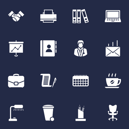 Set Of 16 Bureau Icons Set.Collection Of Handshake, Trash Can, Office Chair Elements.