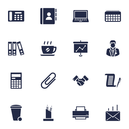 Set Of 16 Bureau Icons Set.Collection Of Mail, Coffee, Clip And Other Elements. Illustration