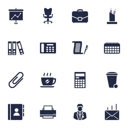 stapled: Set Of 16 Bureau Icons Set.Collection Of Trash Can, Diplomat, Calculator And Other Elements. Illustration