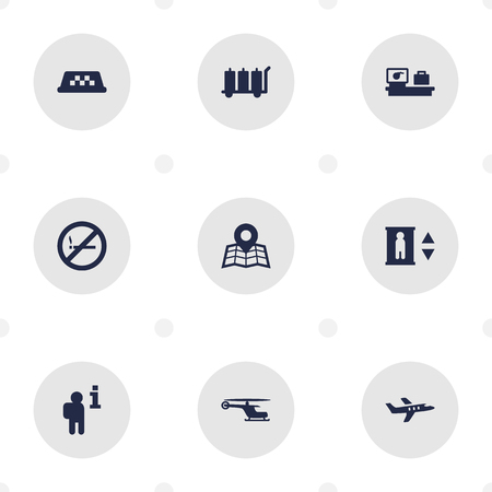 Set Of 9 Land Icons Set.Collection Of Chopper, Resolver, Lift And Other Elements.