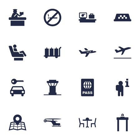 Set Of 16 Airplane Icons Set.Collection Of Passport, Location, Resolver And Other Elements.